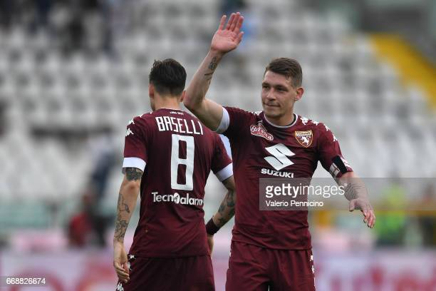 Andrea Belotti of FC Torino salutes at the end of the Serie A match between FC Torino and FC Crotone at Stadio Olimpico di Torino on April 15 2017 in...