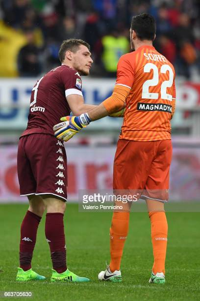 Andrea Belotti of FC Torino salutes Simone Scuffet of Udinese Calcio at the end of the Serie A match between FC Torino and Udinese Calcio at Stadio...