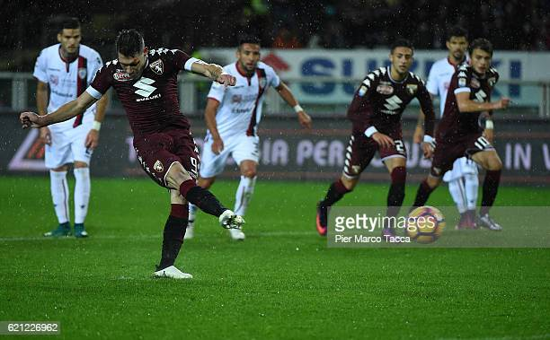 Andrea Belotti of FC Torino scores a penalty goal during the Serie A match between FC Torino and Cagliari Calcio at Stadio Olimpico di Torino on...