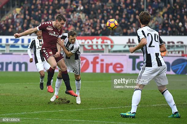 Andrea Belotti of FC Torino scores the opening goal during the Serie A match between FC Torino and Juventus FC at Stadio Olimpico di Torino on...