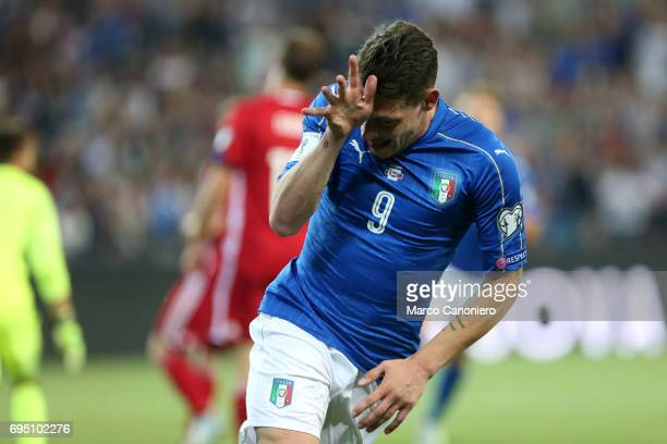 Andrea Belotti of Italy celebrate after scoring a goal during the FIFA 2018 World Cup Qualifier match between Italy and Liechtenstein Italy went on...