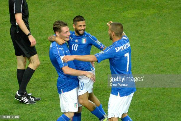 Andrea Belotti of Italy celebrates after scoring his team's second goal during the FIFA 2018 World Cup Qualifier between Italy and Liechtenstein at...