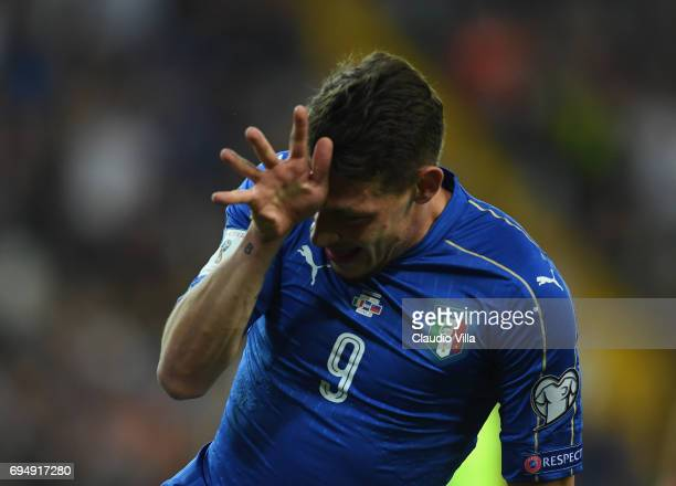 Andrea Belotti of Italy celebrates after scoring the second goal during the FIFA 2018 World Cup Qualifier between Italy and Liechtenstein at Stadio...