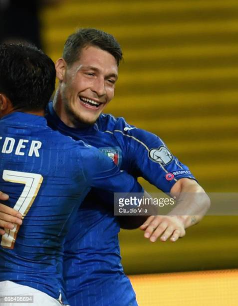 Andrea Belotti of Italy celebrates during the FIFA 2018 World Cup Qualifier between Italy and Liechtenstein at Stadio Friuli on June 11 2017 in Udine...