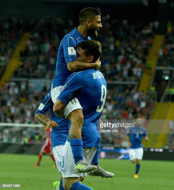 Andrea Belotti of Italy celebrates with Lorenzo Insigne of Italy after scoring the second goal during the FIFA 2018 World Cup Qualifier between Italy...