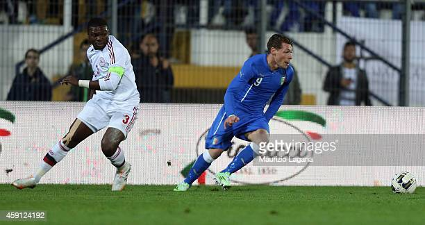 Andrea Belotti of Italy competes for the ball with Jores Okore of Denmark during the international friendly match between Italy U21 and Denmark U21...