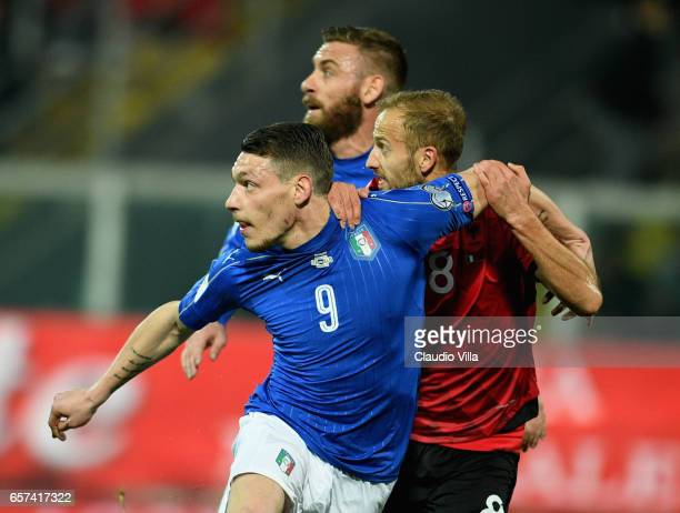 Andrea Belotti of Italy competes for the ball with Naser Aliji of Albania during the FIFA 2018 World Cup Qualifier between Italy and Albania at...