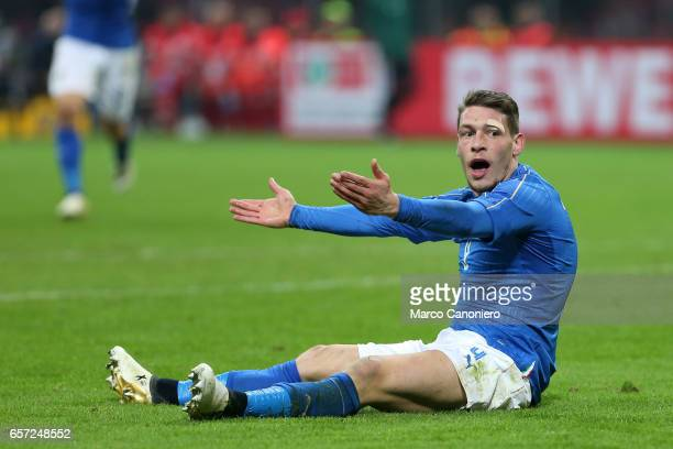 Andrea Belotti of Italy complaining to the referee for penalty denied during the International friendly match between Italy and Germany at Giuseppe...