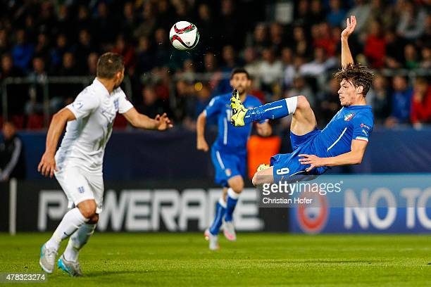 Andrea Belotti of Italy controls the ball during the UEFA Under21 European Championship 2015 match between England and Italy at Andruv Stadium on...