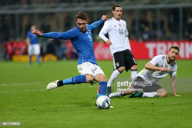 Andrea Belotti of Italy during the International friendly match between Italy and Germany at Giuseppe Meazza Stadium