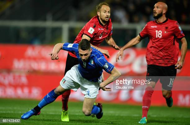 Andrea Belotti of Italy in action during the FIFA 2018 World Cup Qualifier between Italy and Albania at Stadio Renzo Barbera on March 24 2017 in...