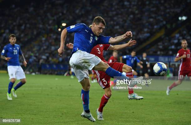 Andrea Belotti of Italy in action during the FIFA 2018 World Cup Qualifier between Italy and Liechtenstein at Stadio Friuli on June 11 2017 in Udine...