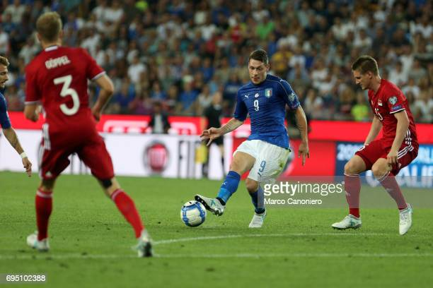 Andrea Belotti of Italy in action during the FIFA 2018 World Cup Qualifier match between Italy and Liechtenstein Italy went on to win the match 50