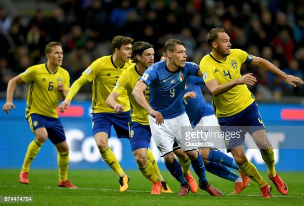 Andrea Belotti of Italy in action during the FIFA 2018 World Cup Qualifier PlayOff Second Leg between Italy and Sweden at San Siro Stadium on...