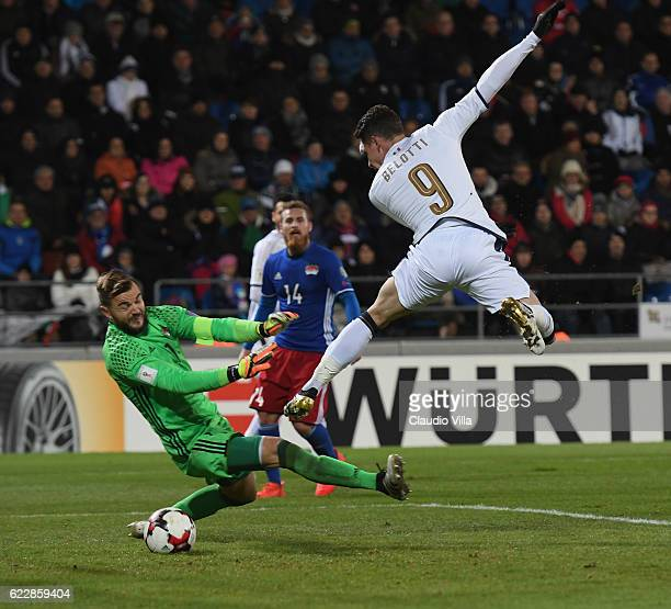 Andrea Belotti of Italy in action during the FIFA World Cup 2018 group G Qualifiers football match between Liechtenstein and Italy at the Rheinpark...