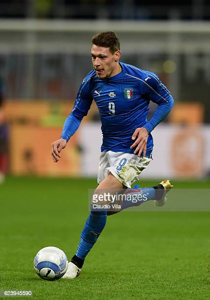 Andrea Belotti of Italy in action during the International Friendly Match between Italy and Germany at Giuseppe Meazza Stadium on November 15 2016 in...