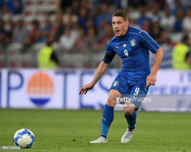 Andrea Belotti of Italy in action during the International Friendly match between Italy and Uruguay at Allianz Riviera Stadium on June 7 2017 in Nice...