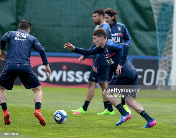 Andrea Belotti of Italy in action during the training session at the club's training ground at Coverciano on March 21 2017 in Florence Italy
