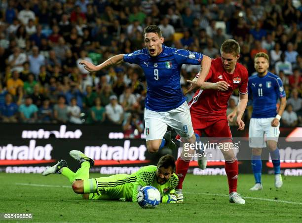 Andrea Belotti of Italy in ation during the FIFA 2018 World Cup Qualifier between Italy and Liechtenstein at Stadio Friuli on June 11 2017 in Udine...