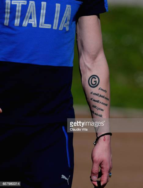 Andrea Belotti of Italy prior to the Italy training session at the club's training ground at Coverciano on March 26 2017 in Florence Italy