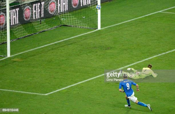 Andrea Belotti of Italy scores his team's second goal during the FIFA 2018 World Cup Qualifier between Italy and Liechtenstein at Stadio Friuli on...