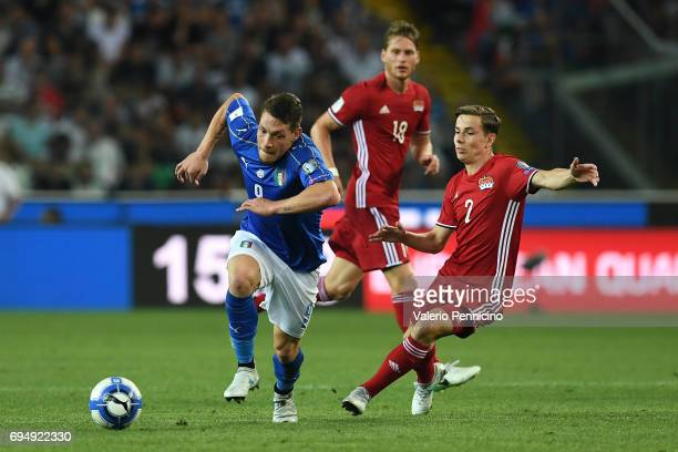 Andrea Belotti of Italy scores the second goal during the FIFA 2018 World Cup Qualifier between Italy and Liechtenstein at Stadio Friuli on June 11...