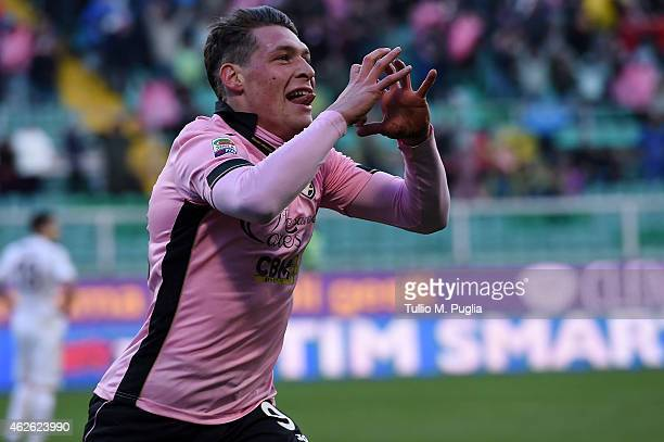 Andrea Belotti of Palermo celebrates after scoring his team's second goal during the Serie A match between US Citta di Palermo and Hellas Verona FC...