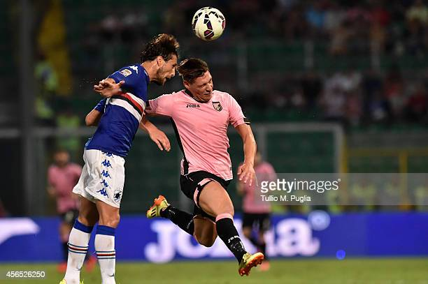 Andrea Belotti of Palermo in action during the Serie A match between US Citta di Palermo and UC Sampdoria at Stadio Renzo Barbera on August 31 2014...