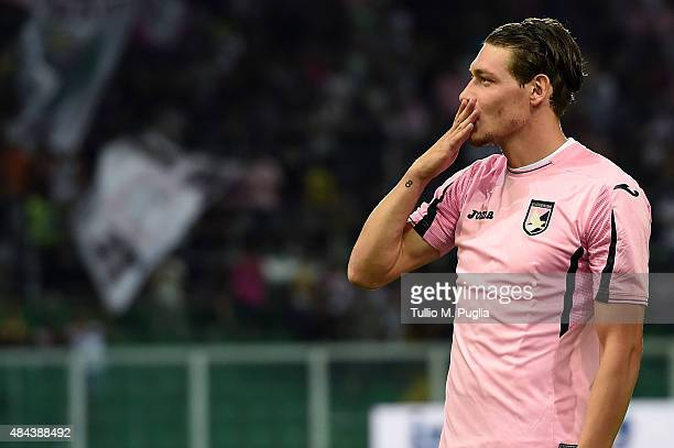 Andrea Belotti of Palermo in action during the TIM Cup match between US Citta di Palermo and US Avellino at Stadio Renzo Barbera on August 15 2015 in...
