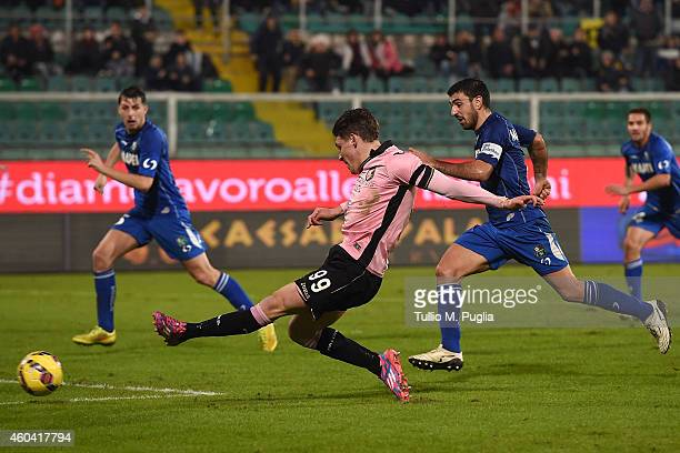 Andrea Belotti of Palermo scores his team's second goal during the Serie A match between US Citta di Palermo and US Sassuolo Calcio at Stadio Renzo...