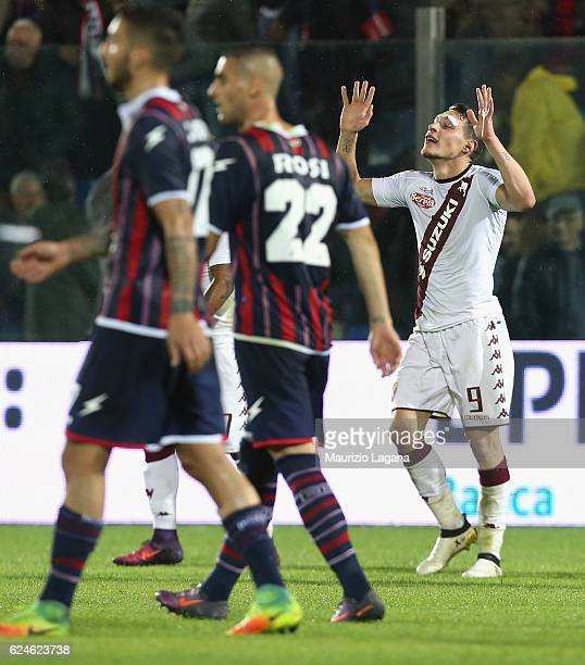 Andrea Belotti of Torino celebrates after scoring his second goal during the Serie A match between FC Crotone and FC Torino at Stadio Comunale Ezio...