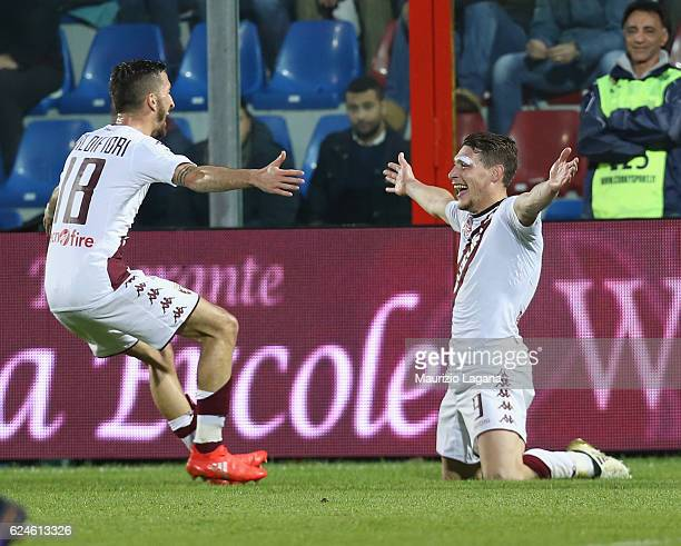 Andrea Belotti of Torino celebrates after scoring his team's opening goal during the Serie A match between FC Crotone and FC Torino at Stadio...