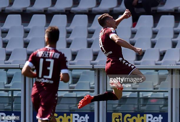 Andrea Belotti of Torino celebrates after scoring the opening goal during the Serie A match between FC Torino and AS Roma at Stadio Olimpico di...
