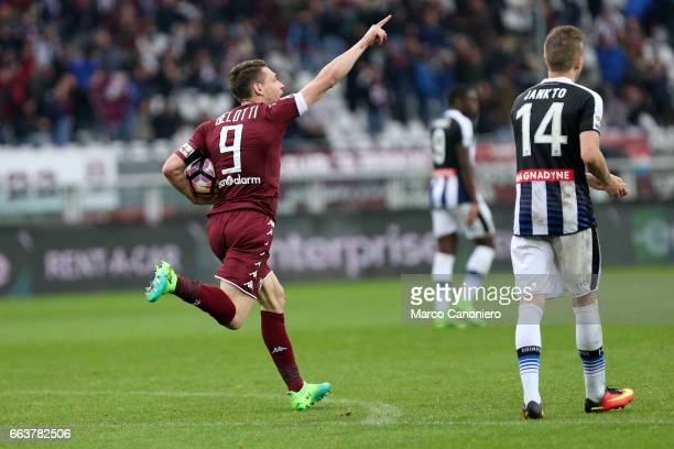 Andrea Belotti of Torino FC celebrate after scoring a goal during the Serie A football match between Torino FC and Udinese Final result is 22