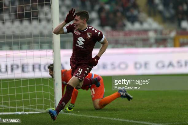 Andrea Belotti of Torino FC celebrates after scoring a goal during the Serie A football match between Torino FC and Pescara at Stadio Olimpico di...