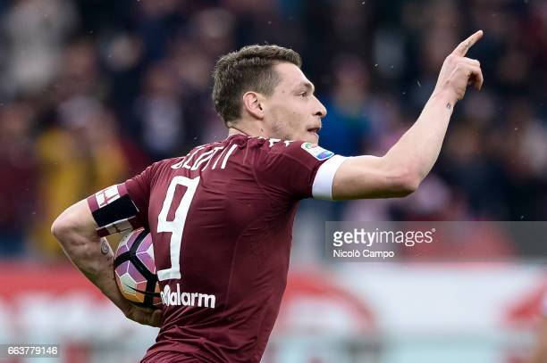 Andrea Belotti of Torino FC celebrates after scoring a goal during the Serie A football match between Torino FC and Udinese Calcio Final result is 22