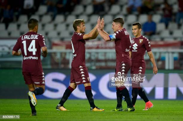 Andrea Belotti of Torino FC celebrates after scoring a goal with Iago Falque Adem Ljajic and Alejandro Berenguer during the TIM Cup football match...