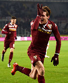 Andrea Belotti of Torino FC celebrates after scoring the opening goal during the Serie A match between Torino FC and Bologna FC at Stadio Olimpico di...