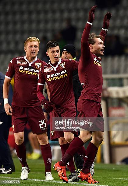 Andrea Belotti of Torino FC celebrates after scoring the opening goal with team mates during the Serie A match between Torino FC and Bologna FC at...