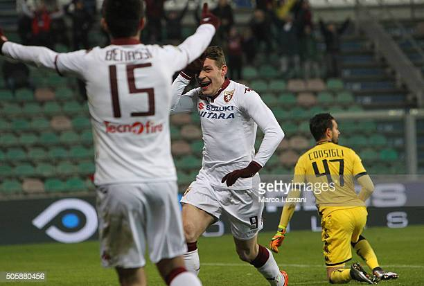 Andrea Belotti of Torino FC celebrates after scoring the opening goal during the Serie A match betweeen US Sassuolo Calcio and Torino FC at Mapei...