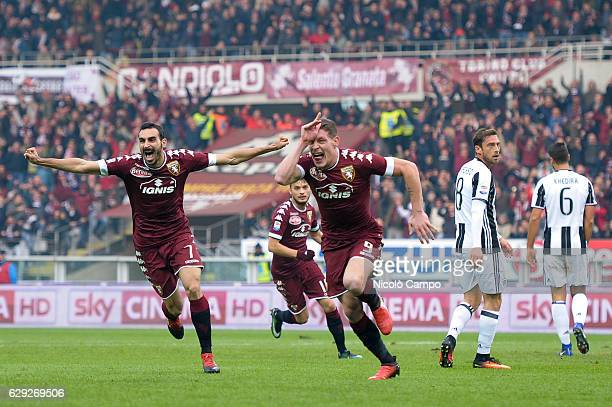 Andrea Belotti of Torino FC celebrates after scoring the opening goal during the Serie A football match between Torino FC and Juventus FC Juventus FC...