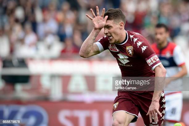 Andrea Belotti of Torino FC celebrates after scoring the opening goal during the Serie A football match between Torino FC and FC Crotone Final result...
