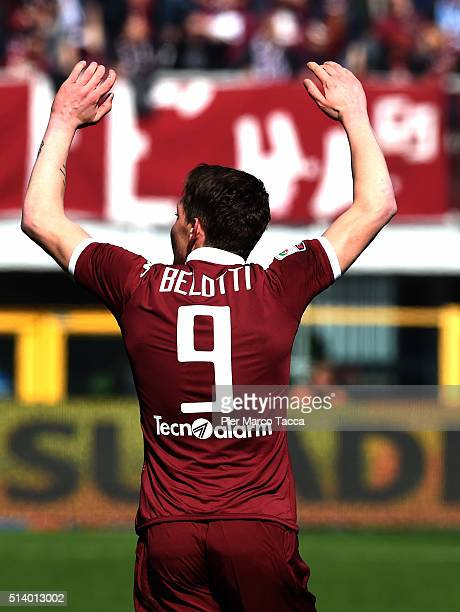 Andrea Belotti of Torino FC celebrates his first goal during the Serie A match between Torino FC and SS Lazio at Stadio Olimpico di Torino on March 6...