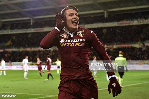 Andrea Belotti of Torino FC celebrates his second goal during the Serie A match between Torino FC and Frosinone Calcio at Stadio Olimpico di Torino...