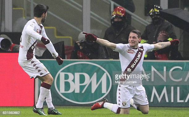 Andrea Belotti of Torino FC celebrates with his teammate Marco Benassi after scoring the opening goal during the TIM Cup match between AC Milan and...