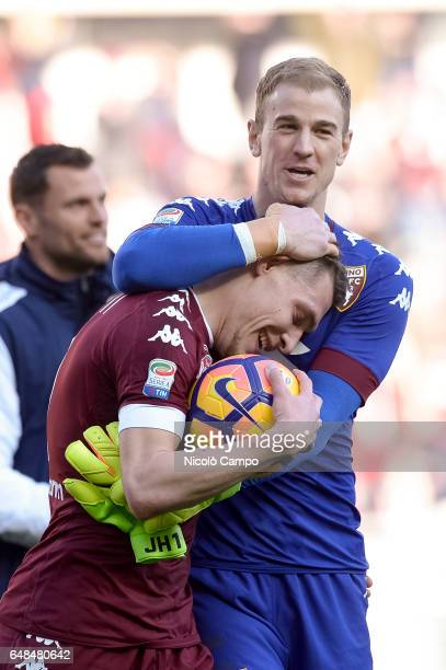 Andrea Belotti of Torino FC celebrates with Joe Hart at the end of the Serie A football match between Torino FC and US Citta di Palermo Torino FC...