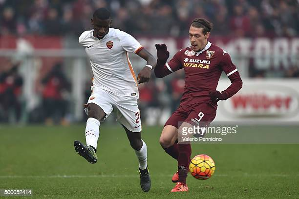 Andrea Belotti of Torino FC competes with Antonio Rudiger of AS Roma during the Serie A match between Torino FC and AS Roma at Stadio Olimpico di...