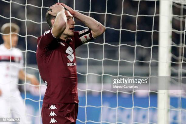 Andrea Belotti of Torino FC despair during the Serie A football match between Torino Fc and Cagliari Calcio Torino Fc wins 21 over Cagliari Calcio