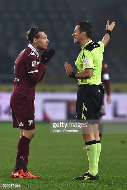 Andrea Belotti of Torino FC discutes with referee Claudio Gavillucci during the Serie A match between Torino FC and Udinese Calcio at Stadio Olimpico...