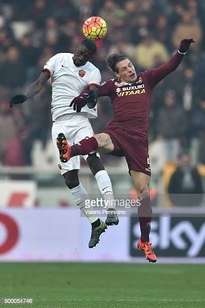 Andrea Belotti of Torino FC goes up with Antonio Rudiger of AS Roma during the Serie A match between Torino FC and AS Roma at Stadio Olimpico di...